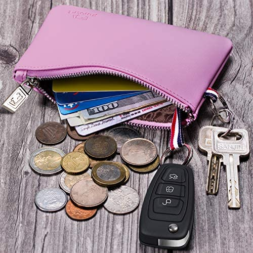 Inner Pocket Mini Size Soft Coin Pouch Dual Rings Change Purse with Zipper FurArt Coin Purse