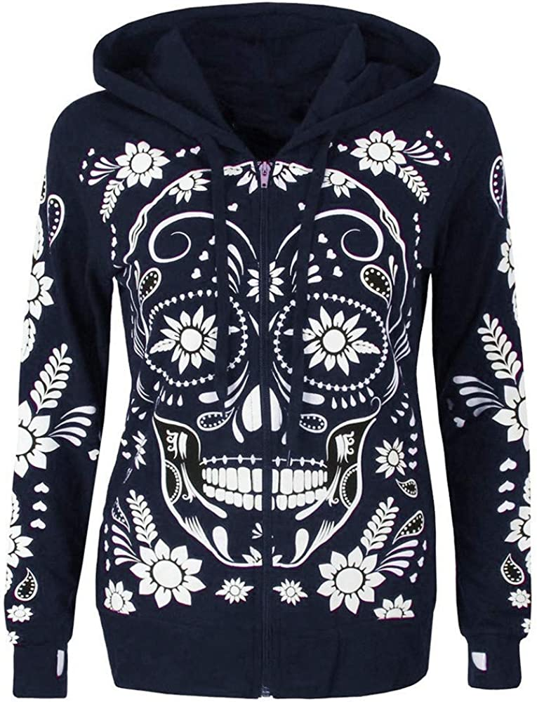 Women Plus Size Long Sleeve Skull Print Zipper Hooded Blouse Pullover Tops Shirt