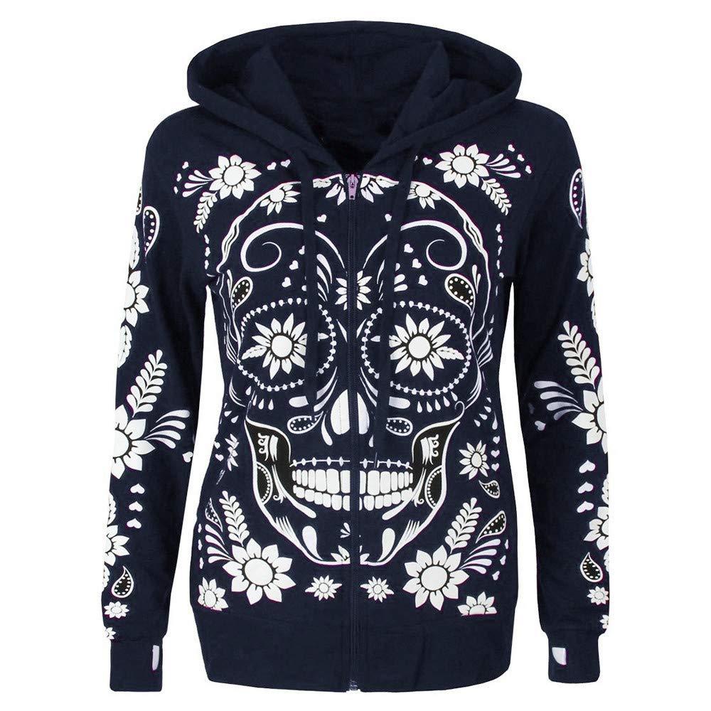 Shusuen ◈ Women Plus Size Long Sleeve Sweatshirt Skull Print Zipper Hooded Blouse Tops Shirt Print Plus Size Pullover by Shusuen_Clothes