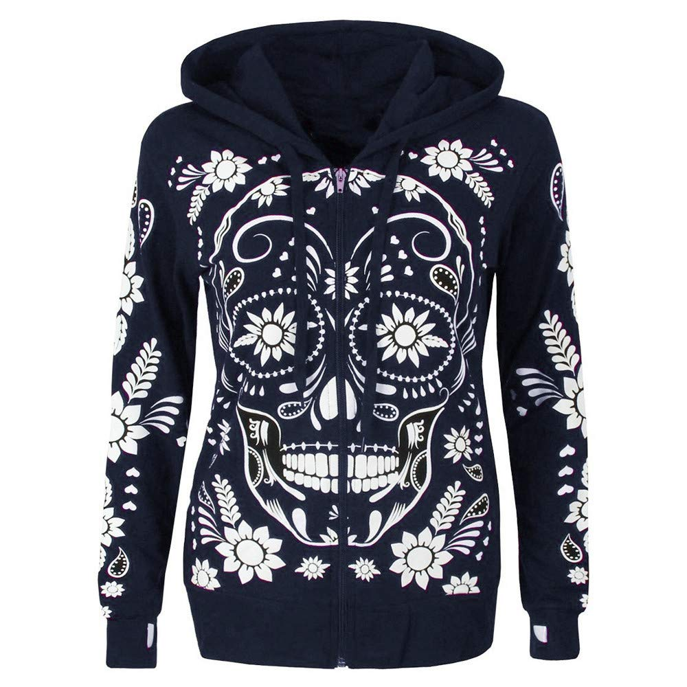 Shusuen ◈ Women Plus Size Long Sleeve Sweatshirt Skull Print Zipper Hooded Blouse Tops Shirt Print Plus Size Pullover by Shusuen_Clothes (Image #1)