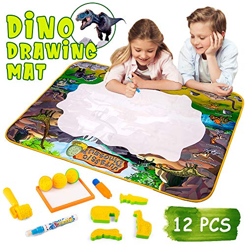 Dinosaur Water Doodle Drawing Mat for Kids and Toddlers - Large 39 x 29 Doodling Play Pad with Water Pens, Animal Stamps and More - Great Gift and Educational Learning Toy for Boys and Girls