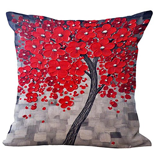 ME COO Seasons Tree Printed Cover Classic Women Winter Pillows Cases Throw Pillow Hemp BlendPillowcase Hug Pillow cases 18 x 18Inches 1pcs