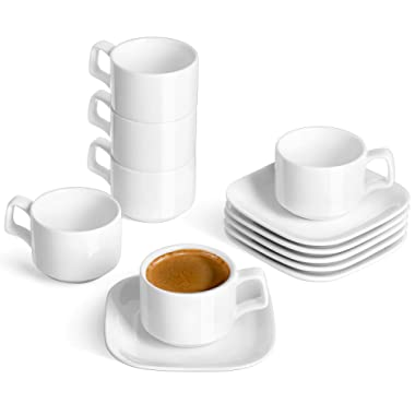 DOWAN Porcelain Espresso Cups with Square Saucers, 4 Ounce - Stackable Espresso Cups Set of 6, White