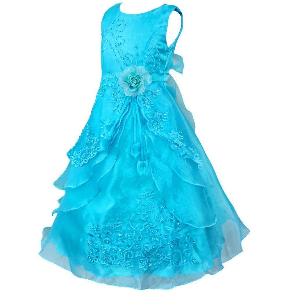 Bleu Ciel 6 ans MJY Mode Enfants Filles 'Robe De Fleur Sans Manches Brodé De Mariage De Demoiselle D'honneur Couches-robes Robes Formelles Robe De Bal De Bal,Bleu marin,7-8 ans