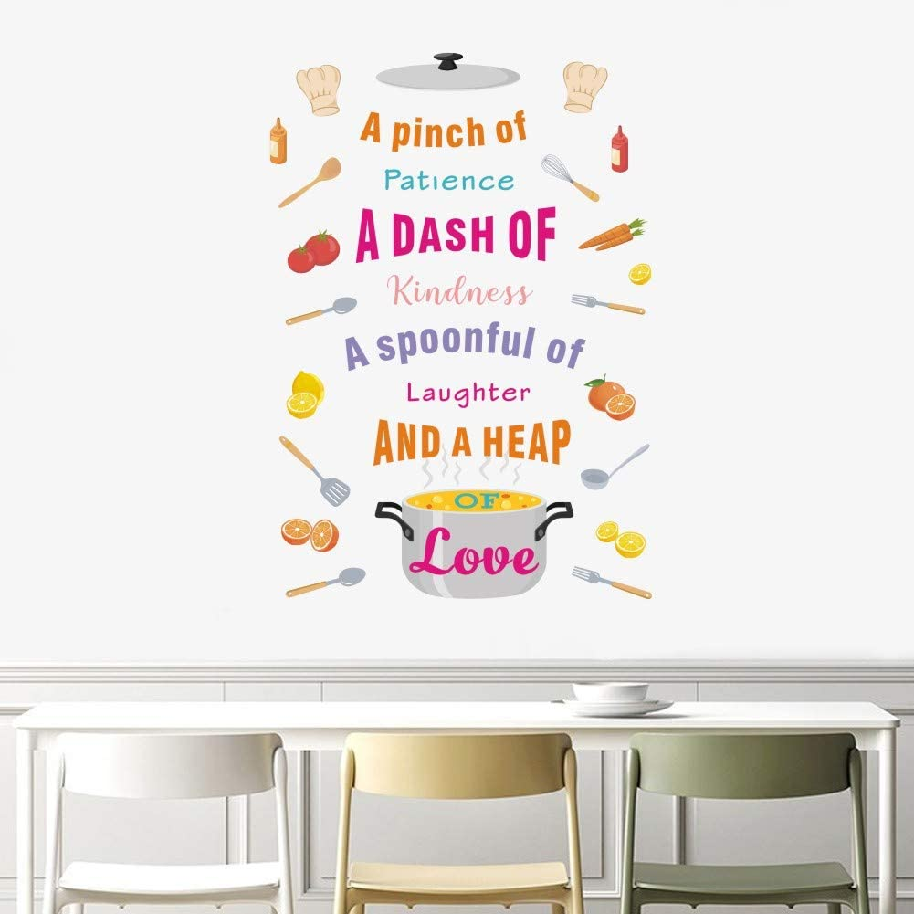 TOARTi Colorful Kitchen Quote Decal,Positive Dining Cooking Wall Sticker for Kitchen Dining Room Restaurant Decor, Watercolor Cooking Utensil Tomatoes Orange Wall Art