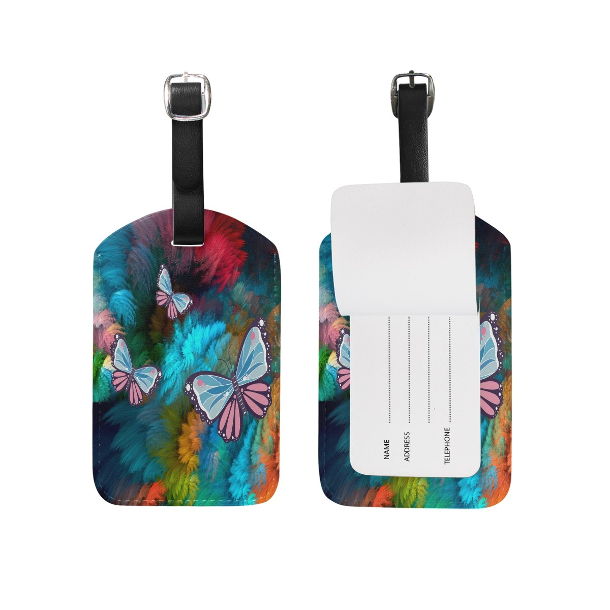 Deep Butterfly Leather Cruise Travel USA Luggage Tags Card Bag ID Label (2Pcs)