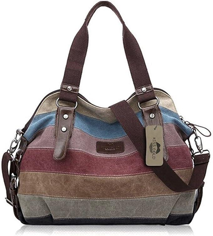 KISS GOLD(TM) Canvas Hobo Bag Tote Handbag Shopping Shoulder Bag