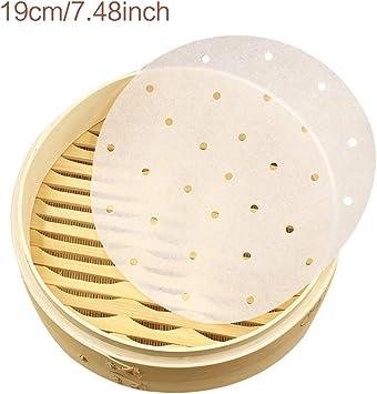 BIlinl 100 Pcs//Sac 7,5//9 Pouces Air Fryer Steamer Doublures Premium Perfor/é P/âte De Bois Papiers Non-Adh/ésif /À La Vapeur Tapis De Panier Cuisson Outils de Cuisine