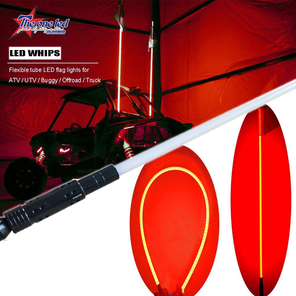 6FT LED Flag Whip Lights Antenna Safety LED Light Whip Quick Release for Jeep Truck Pickup UTV ATV Off Road Sand Dunes LED Lighted(One Whip) TheOne