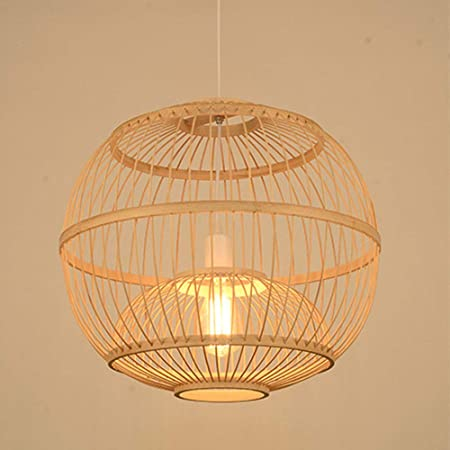 Decken Hänge Leuchte Bambus Kugel Pendel Lampe Wohn Ess Zimmer Beleuchtung Licht
