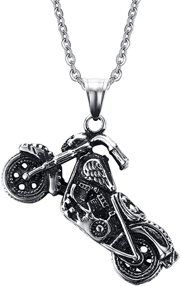 JAJAFOOK Stainless Steel Motorcycle Matching Set Mens Pendant Necklace