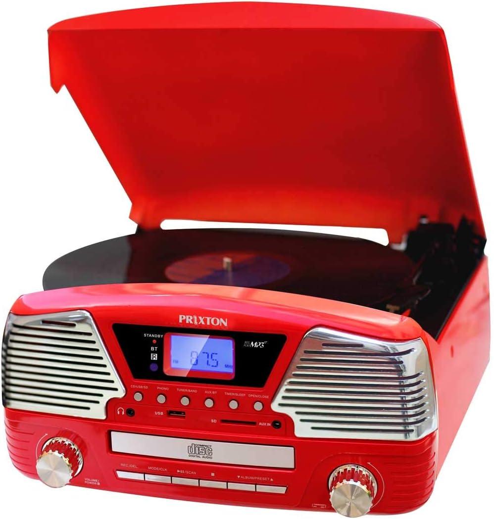 PRIXTON VC500 - Tocadiscos Vintage de Vinilos con Altavoces y Bluetooth / Reproductor de Discos de Vinilo, CD, mp3 y Convertidor a mp3 / Grabadora