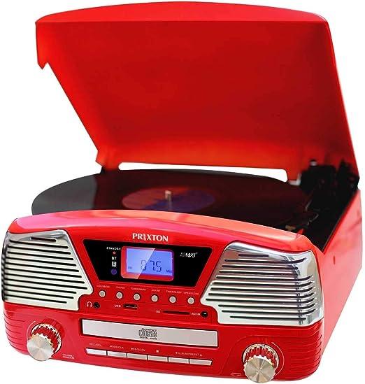 PRIXTON - Tocadiscos de Vinilo Vintage con Altavoces y Bluetooth ...