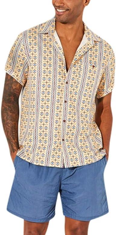 iCJJL - Camisa de verano para hombre, con botones y bolsillo, informal, hippie, manga corta, diseño geométrico hawaiano - Amarillo - 3X-Large: Amazon.es: Ropa y accesorios