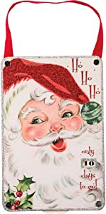 Primitives by Kathy Christmas Countdown Wall Décor, Ho, Vintage Santa