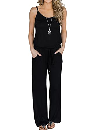 35b734ca3c14 MIHOLL Women's Summer Striped Jumpsuit Casual Loose Sleeveless Jumpsuit  Rompers (Small, B-Black