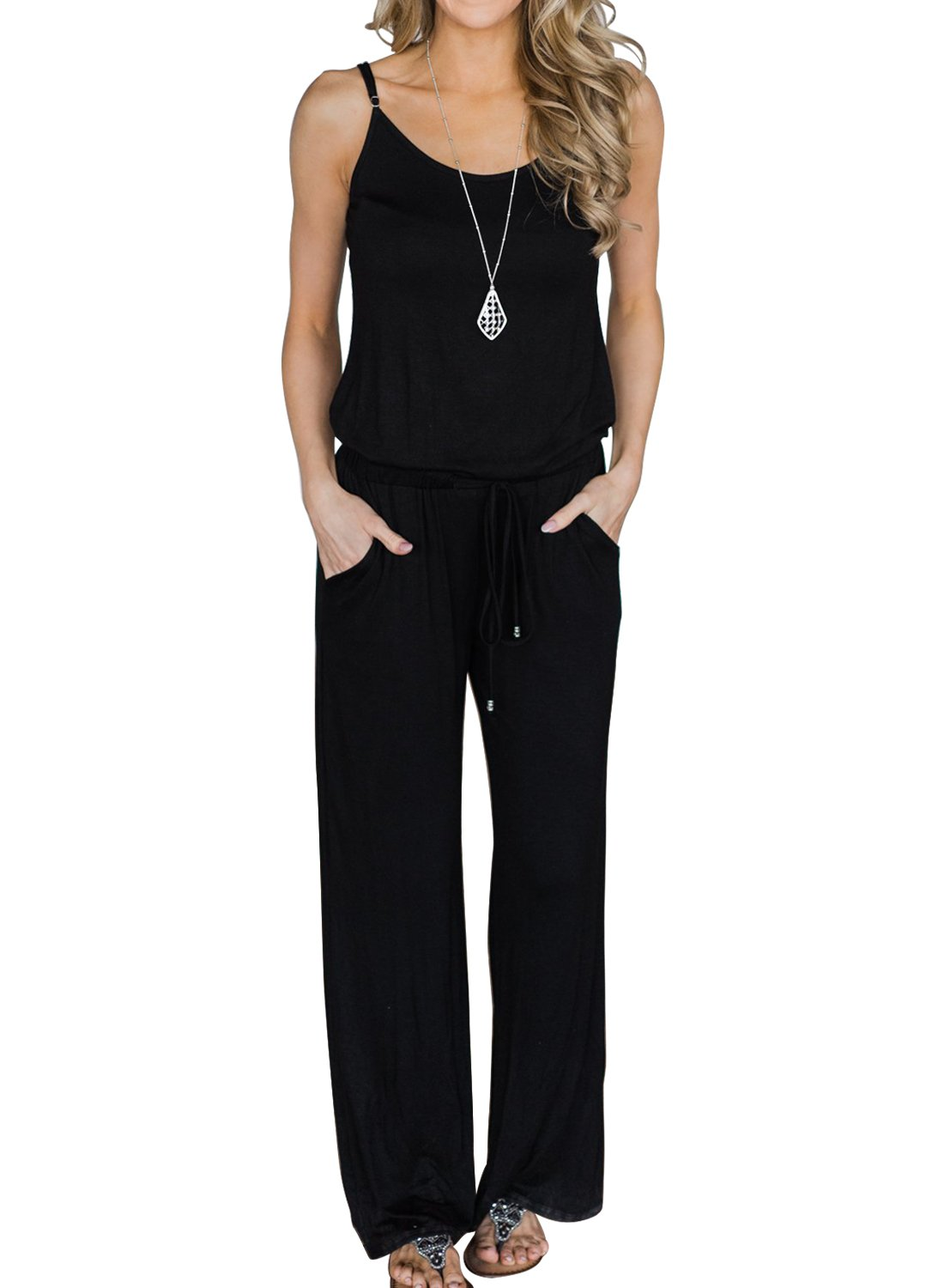 MIHOLL Women's Summer Striped Jumpsuit Casual Loose Sleeveless Jumpsuit Rompers (Large, B-Black)
