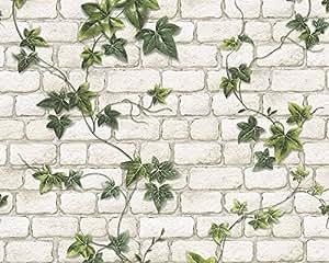 A.S. Création papel pintado de papel Dekora Natur verde blanco 10,05 m x 0,53 m 980434