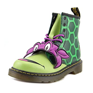 dr martens juniors tmnt donnie leather lace up zip boot green