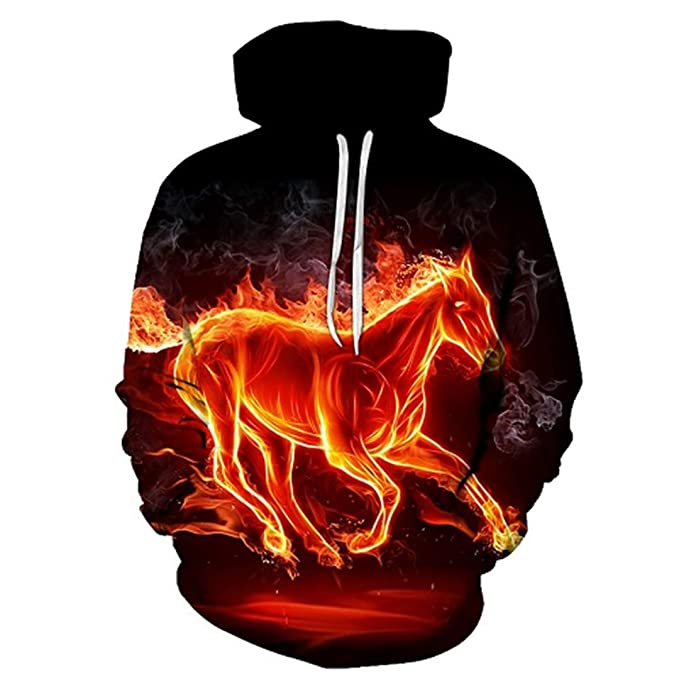 Flame Horse Printing Sudaderas con Capucha para Hombres/Mujeres 3D Sudaderas con Capucha de Manga Larga Sudaderas con Capucha Hip Hop Tops: Amazon.es: Ropa ...