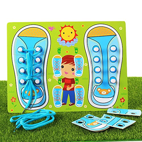 Educational Shoe Laces Board Pegged Puzzles - Learn To Tie Your Shoelace,Children's Early Learning Toys Tying Shoe Laces,Wooden Lacing Sneaker Training Shoes,Practice Motor Skills Activity Board Games