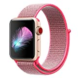 Yunsea Compatible for Apple Watch Band 40mm, Soft Nylon Sport Loop, with Hook and Loop Fastener, Band Compatible for iwatch Series 4 (40mm, Hot Pink)