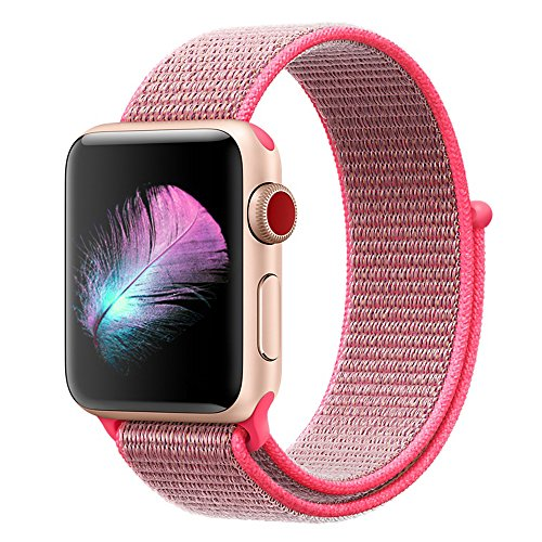 Yunsea Compatible for Apple Watch Band 42mm, New Nylon Sport Loop, with Hook and Loop Fastener, Adjustable Closure Wrist Strap, Replacement Band Compatible for iwatch, (42mm, Hot Pink)