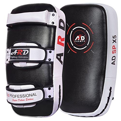 ARD Kick Boxing Strike Curved Thai Pad MMA Focus Muay Thai Punch Shield Mitt (1 Unit) (White)