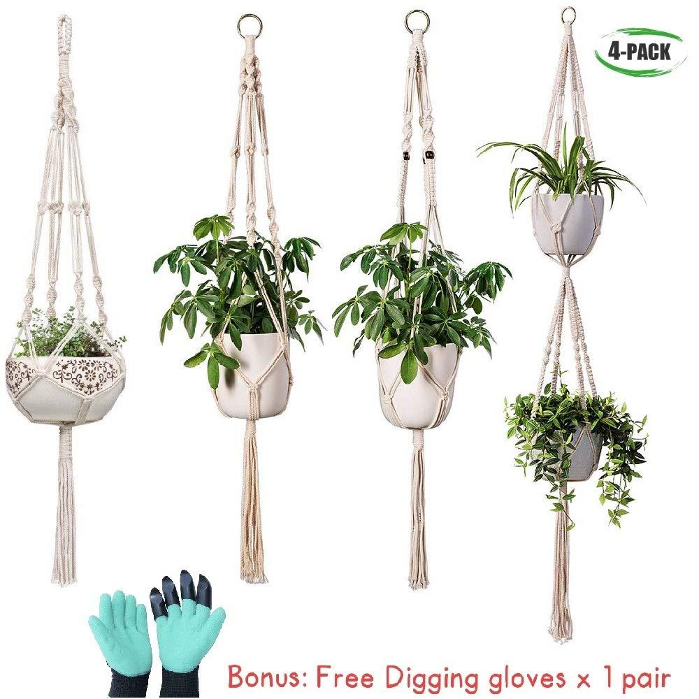 Lovhome Macrame Plant Hangers 4 Pack Different Styles Indoor Cotton Hanging Planter Plant Holder Plus Bonus Digging Glove x 1 Pair Home Decor