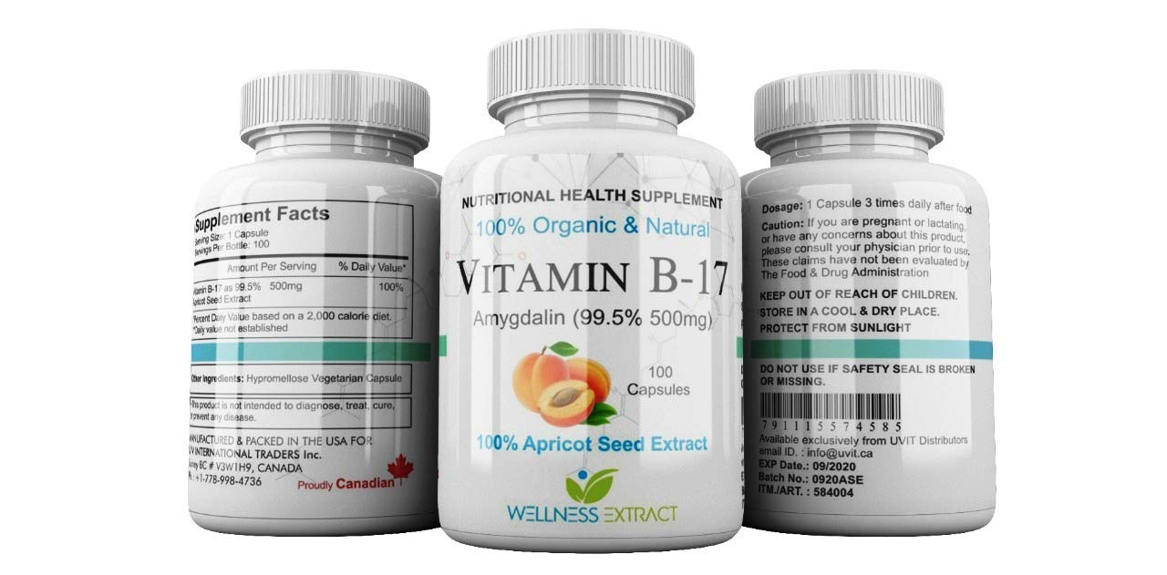 Vitamin B17 500mg Purest Amygdalin 99 5% Apricot Kernel Extract 100%  Organic Natural Made in The USA 100 Capsules