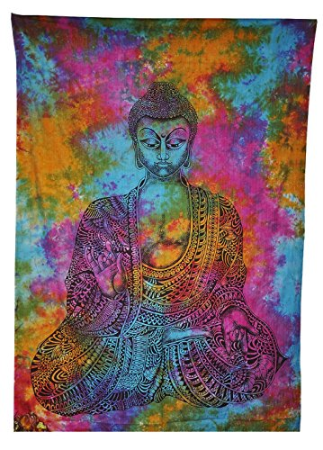 Buddha Tapestries Meditation Buddha Tapestry Cotton Tie Dye Hippie Indian Mandala Wall Hanging Bohemian Throw Decor Bedspread Tapestries by WORLD WIDE KART