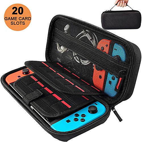 Oliomp Carrying Case Compatible with Nintendo Switch, 20 Game Card Inserts Deluxe EVA Hard Shell Pouch Protective Portable Travel and Storage Case for Nintendo Switch Case Game Console & Accessories