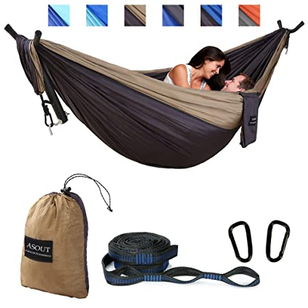 ASOUT Double Camping Hammock-Lightweight Nylon Portable Hammock With Hammock Tree Straps For Outdoor Backpacking Travel