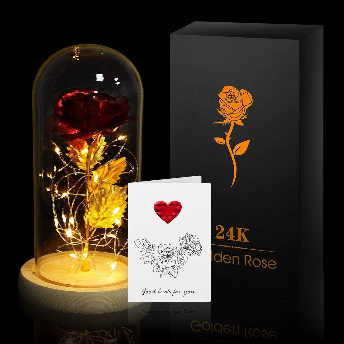 ANBET Hoja de Oro 24K Rosa en Cubierta de Vidrio, Bella y la Bestia Rose en Glass Dome Rosa eterna LED Light para el Regalo de Bodas de Aniversario de San Valentín
