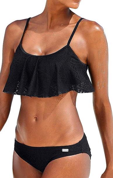 ec76501752df PANOZON Mujer Bañador Bikini Volantes Sujetador de Natación Traje de Baño