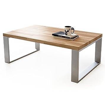 Couchtisch Wohnzimmertisch Braun Holz Wildeiche Metall Silber
