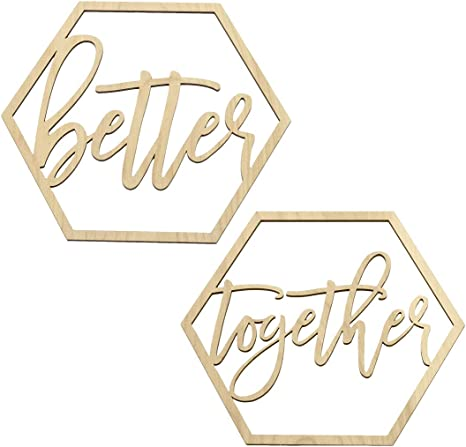 Amazon Com Koyal Wholesale Wood Sign Wedding Display Party Banner Event Decorations Better Together Health Personal Care