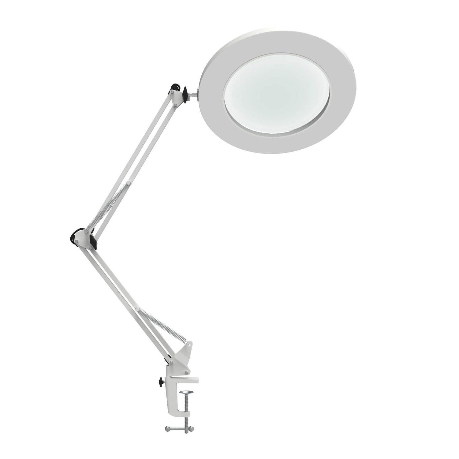 "YOUKOYI LED Magnifying Lamp Metal Swing Arm Magnifier Lamp - Stepless Dimming, 3 Color Modes, 5X Magnification, 4.1"" Diameter Glass Lens, Adjustable Industrial Clamp for Reading/Office/Work (White)"