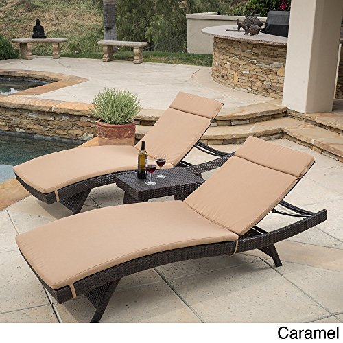 Christopher Knight Home Luana Outdoor 3-piece Wicker Adjustable Chaise Lounge Set with Cushions Caramel by Christopher Knight Home