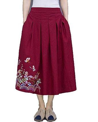 DTLDWN - Falda - para Mujer Rojo Amaranth Talla única: Amazon.es ...