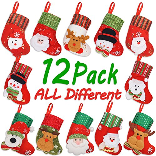 LimBridge Christmas Mixed Set Mini Stockings, 12pcs -