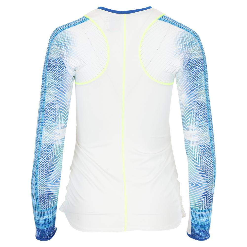 Lucky In Love-Women`s Long Sleeve Tennis Crew White and Latitude Print-(70398048