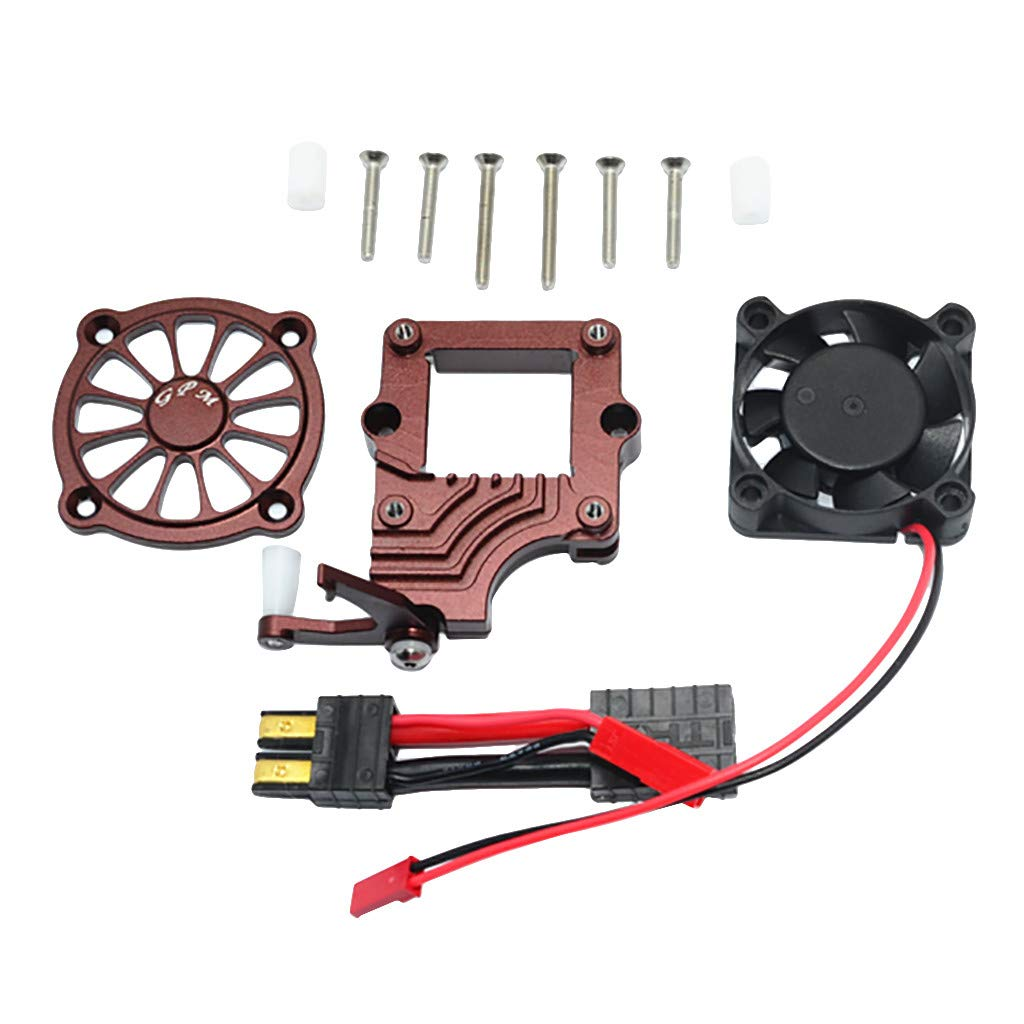 ❤️Jonerytime❤️GPM Aluminum Alloy Motor Cooling Fan Easy Switch Set for Traxxas TRX-4 Racer (Coffee)