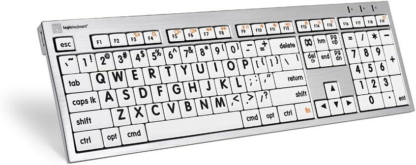 Logickeyboard Largeprint Keyboard Compatible with White Mac ALBA Keyboard - Part Number LKBU-LPRNTBW-CWMU-US