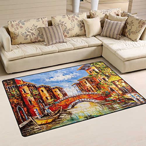 (ALAZA Oil Painting Venice Italy Boat Area Rug Rugs Carpet for Living Room Bedroom 60 x 39 inches)