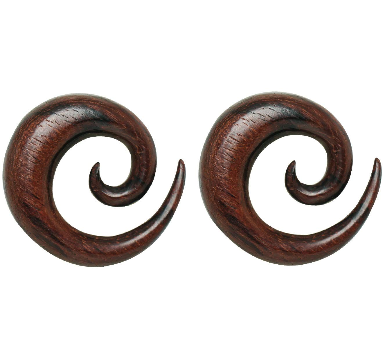 Pierced Owl Organic Dark Brown Sono Wood Spiral Taper Plugs, Sold as a Pair (4mm (6GA)) by Pierced Owl
