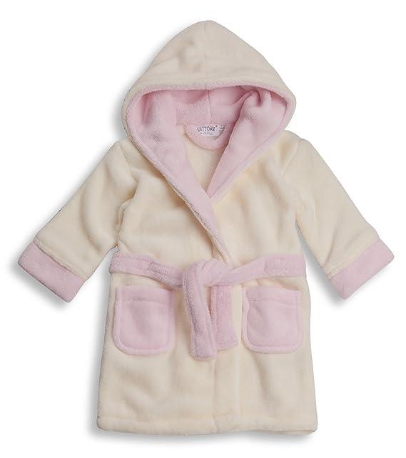 Bebé Niñas Chunky Forro Polar Extrasuave con Capucha Bata Bata Rallas Desde 6 a 24 Meses - Crema/Rosa, 6-12 Meses: Amazon.es: Ropa y accesorios