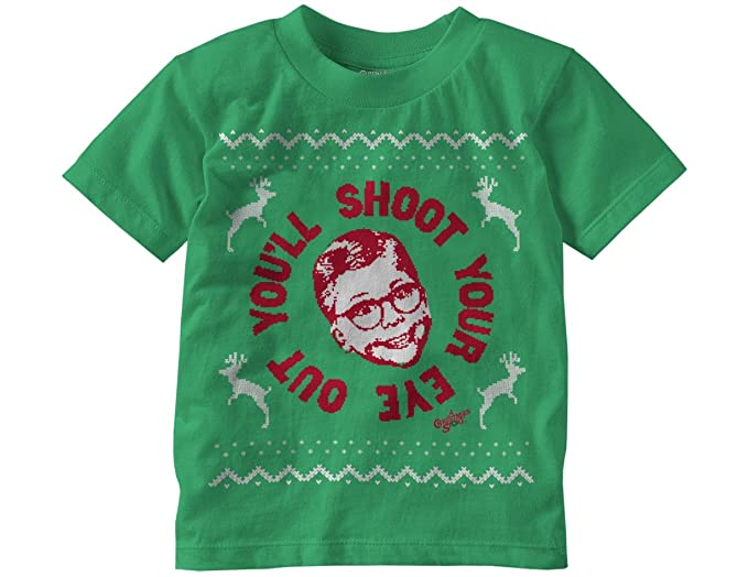 amazoncom ripple junction a christmas story youll shoot your eye out faux sweater toddler t shirt 2t kelly green clothing
