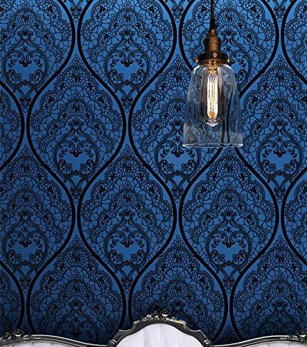 Royal Vintage Velvet Flocked Wallpaper Roll Mystery Blue&Black Damask … (Blue)