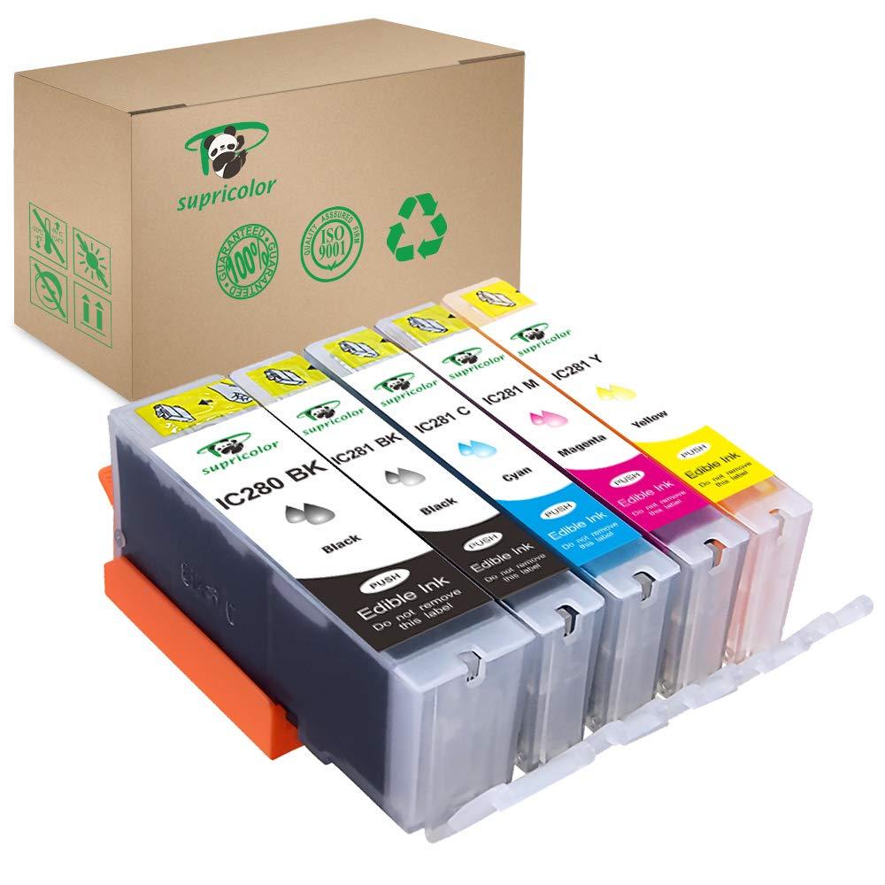 Supricolor Edible PGI-280XXL CLI-281XXL Ink Cartridges, Replacement Edible Ink for PGI 280 XXL CLI 281 XXL 5 Color (1BK, 1PB, 1C, 1M, 1Y) Use with PIXMA TR8520 TR7520 TS6120
